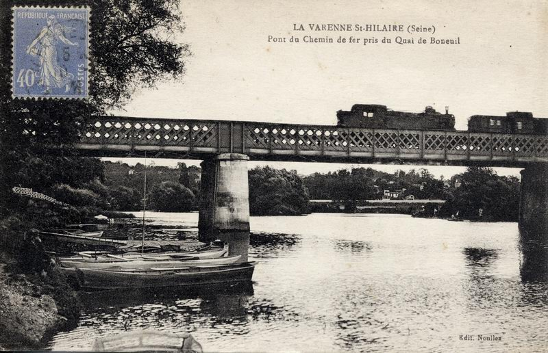 Pont du Chemin de Fer pris du Quai de Bonneuil avant 1910 (Collection)